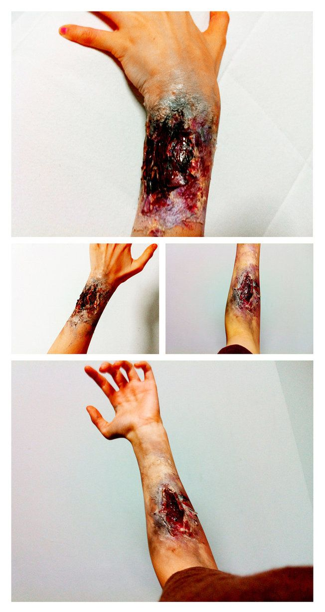 Zombie Make-Up - don't just restrict it to your face! Go all out with zombie scars and wounds