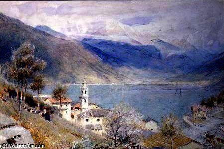Lac scène de Albert Goodwin (1845-1932, United Kingdom)