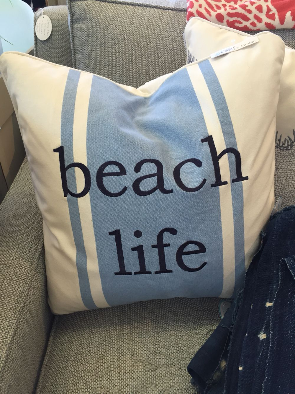 Beach Life Pillow from Cottage Furnishings. Coastal, coastal cool, beach, nautical, cape cod, nantucket, blues
