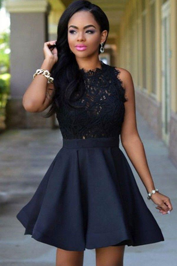 Black lace sleeveless party dress | Best dress ideas | Pinterest ...