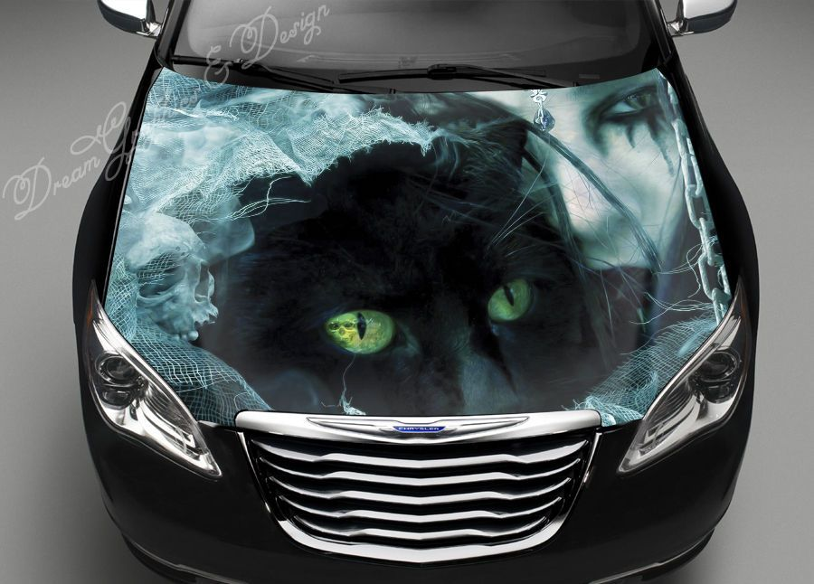 Details About Black Cat Girl Full Color Graphics Adhesive Vinyl - Car sticker decals vinyl girl