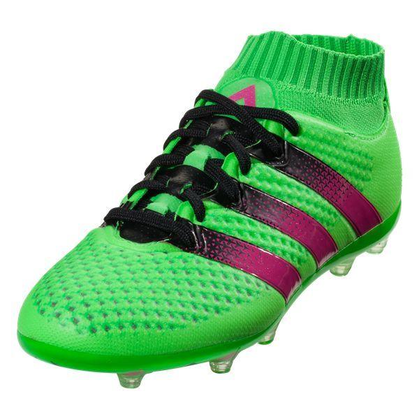100% authentic ccc95 d3552 adidas ACE 16.1 Primeknit FG AG Junior Kids Soccer Cleat - Solar  Green Shock Pink Black