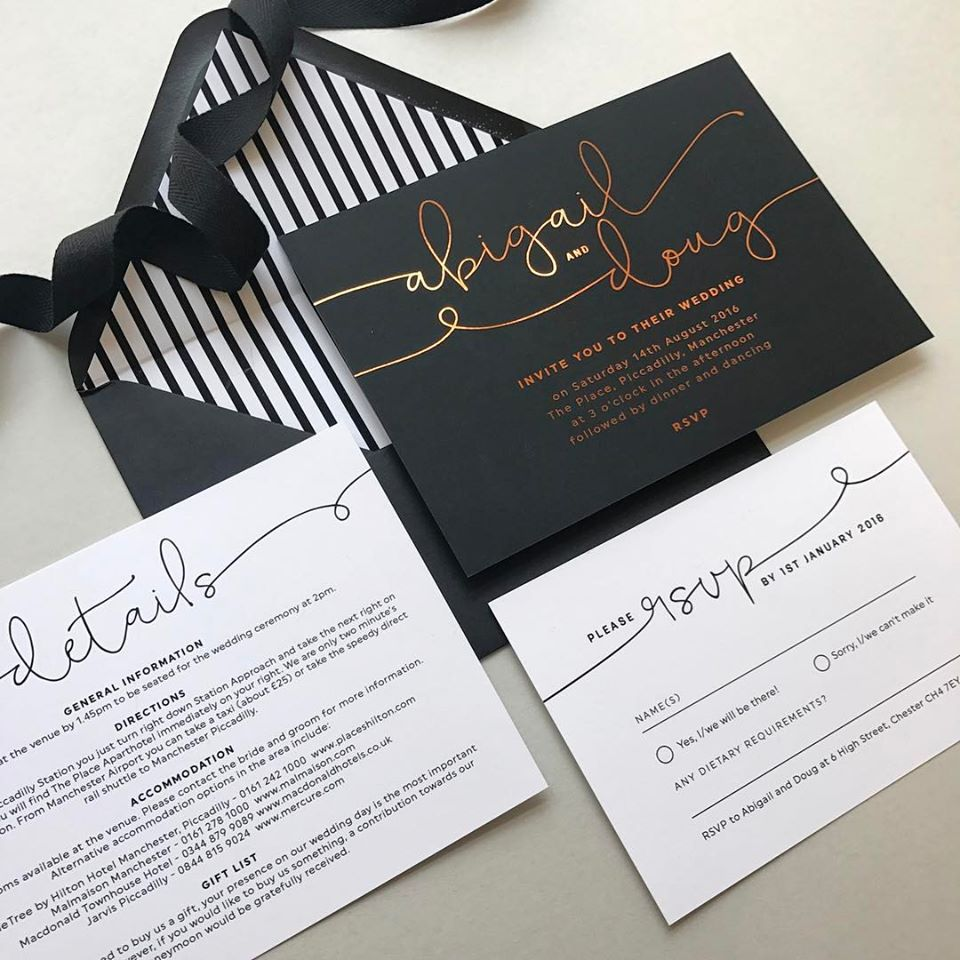 Foil wedding invitations and envelope liners from Project Pretty ...