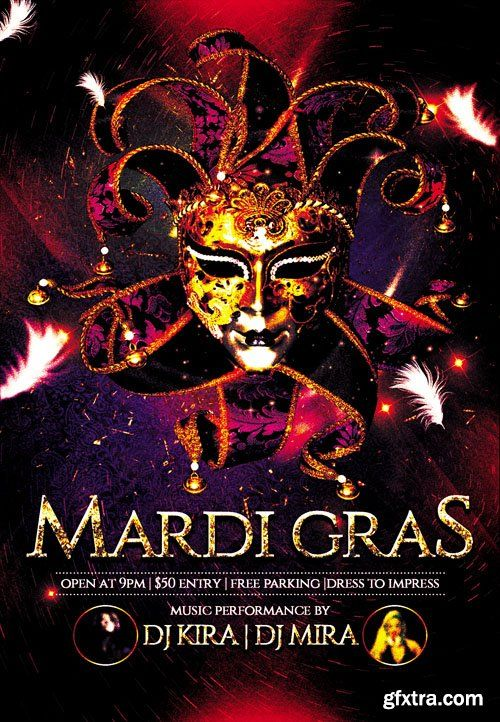 mardi gras club and party flyer psd template psd pinterest