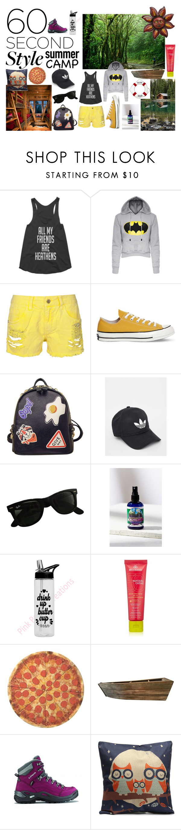 Summer Camp by bittlesamatha on Polyvore featuring Converse, Lowa, WithChic, adidas, Ray-Ban, MDSolarSciences, Little Moon Essentials, NOVICA, Round Towel Co. and summercamp
