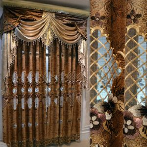 Luxury Victorian Vintage Living Room Curtain In Gold Brown Color Without Valance is part of Small Living Room Curtains - Luxury Victorian Vintage Living Room Curtain In Gold Brown Color Without Valance  Combination of gold brown window treatment made from suede material highlighted by exquisite embroidery floral pattern and hollow work sheer stitching  Best for living room and bedroom or hotel occasions