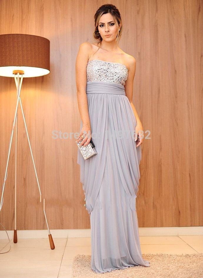 Royal blue sequin empire line maxi dress