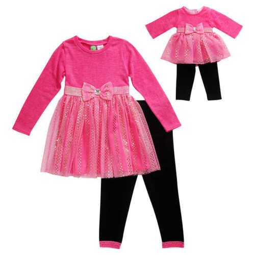 Dollie-Me-Girl-4-10-and-Doll-Matching-Sequin-Dress-Leggings-Outfit-American-Girl