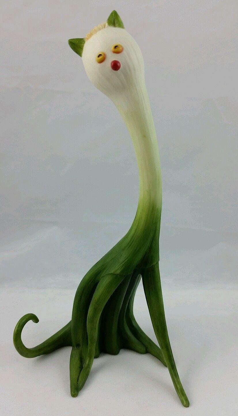Scallion Cat Figurine Green Onion Home Grown By Enesco 2006 Kitty