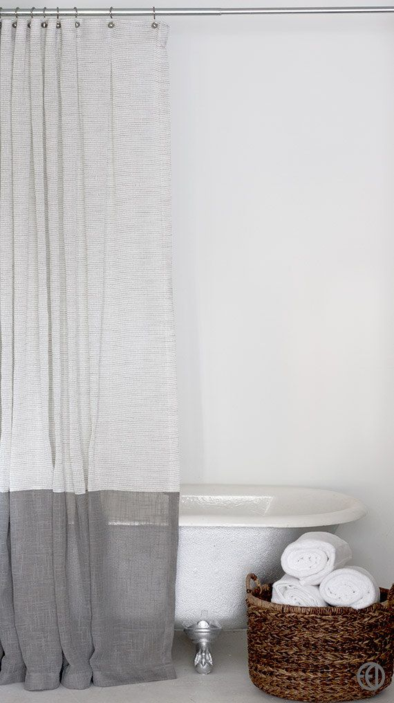 Grey And White Extra Long Fabric Shower Curtain With Large Grey