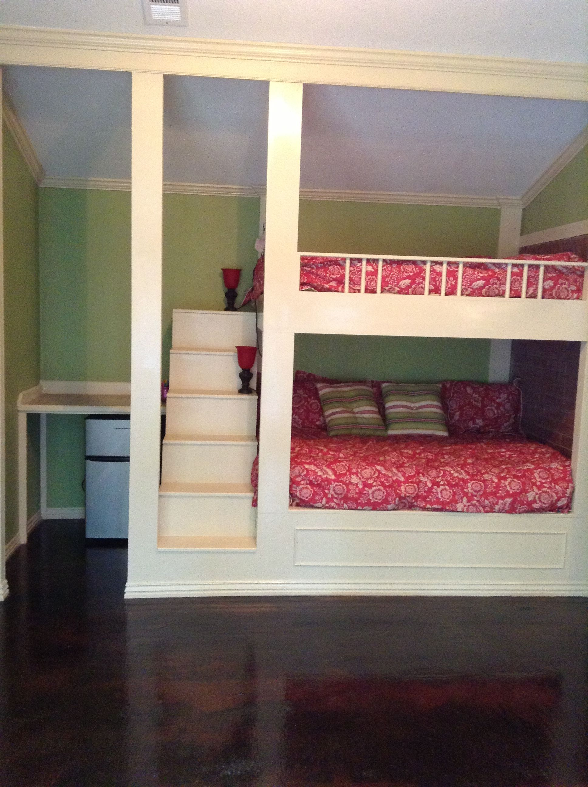 part of our multi purpose room full size bunk beds the bottom has box springs kid rooms. Black Bedroom Furniture Sets. Home Design Ideas
