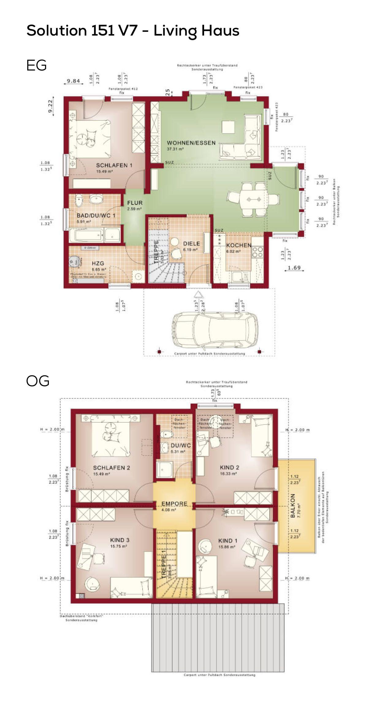 Grundriss Einfamilienhaus mit Satteldach - 6 Zimmer, 150 qm ...