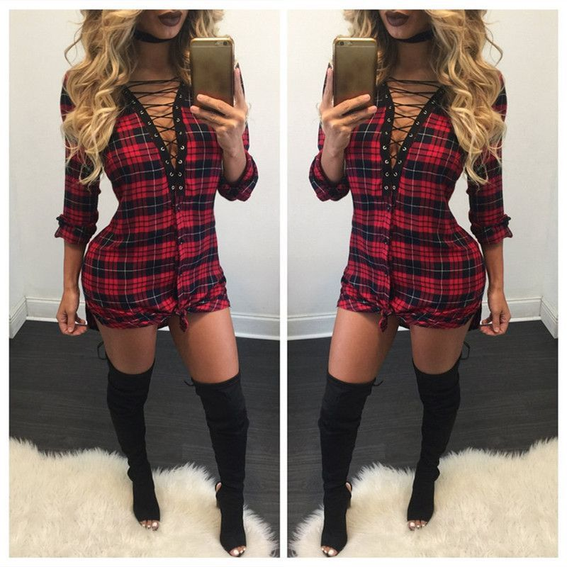 bcc86dd1ad6 Sexy Lace Up Plaid Shirt Long Sleeve Short Bodycon Dress in 2019 ...