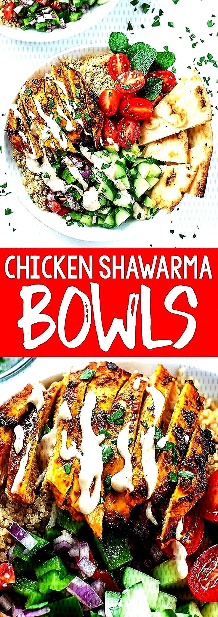loving this recipe for healthy Chicken Shawarma Quinoa Bowls with a super easy hack for creating ma