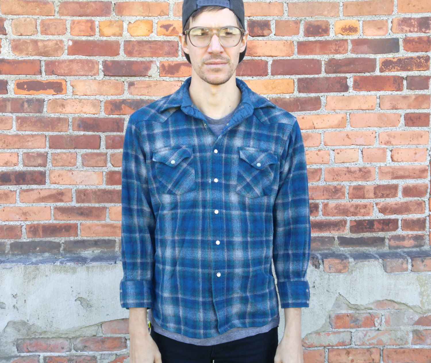 Dress up flannel shirt  Vintage Pendleton Wool Button Down  Up Shirt PEARL SNAPS Woolen