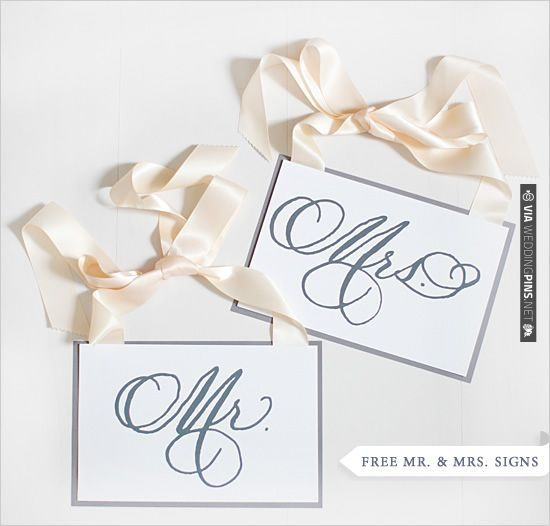 Free Mr And Mrs Printable Signs CHECK OUT MORE IDEAS AT - Free wedding sign templates