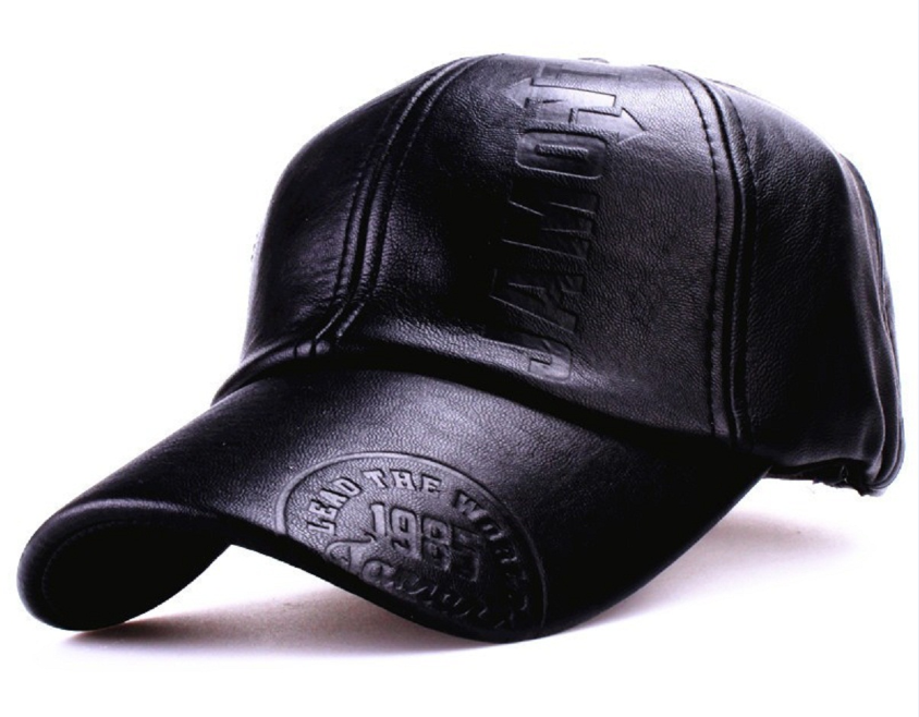 New fashion high quality men leather hat Cap casual moto snapback baseball  cap 215d918b3758