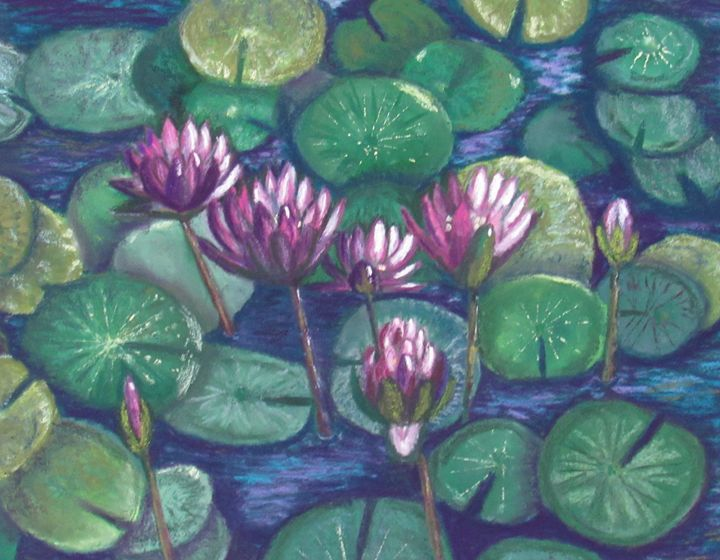 PURPLE WATERLILIES IN A POND - D Chambers Art - Paintings & Prints Flowers… | ArtPal thumbnail