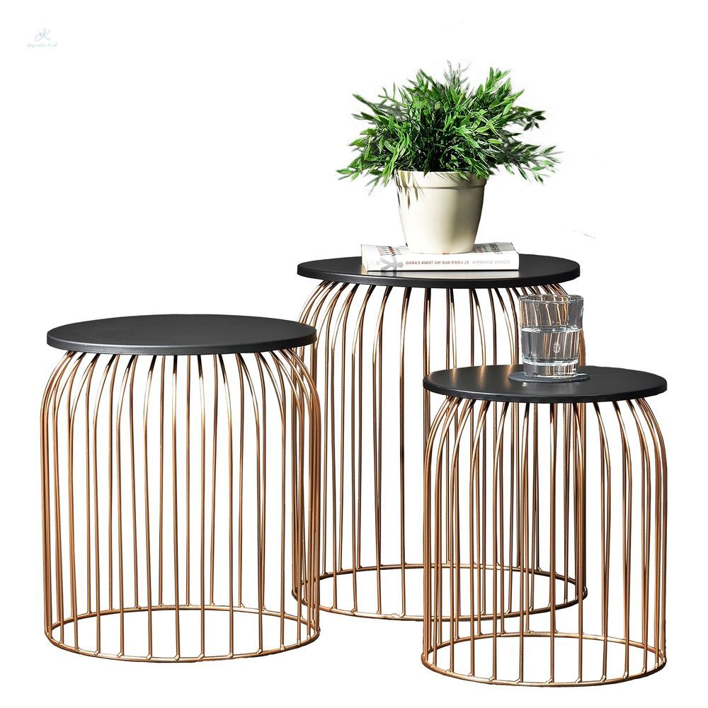 Best Industrial Side Table Set 3Pc End Coffee Table 400 x 300
