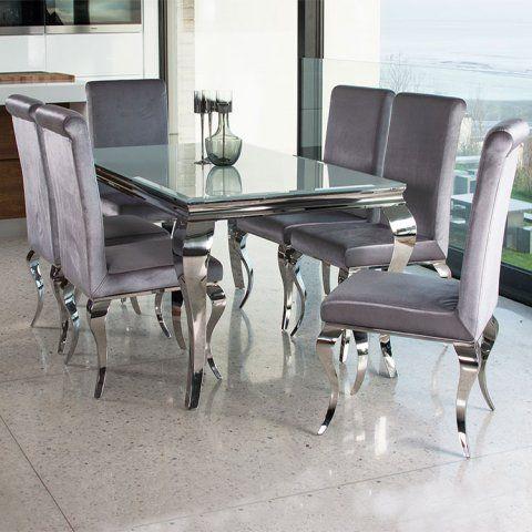 Basic Elegance Furnishings Louis Contemporary Black Or White Glass Chrome 2m 7 Piece Di Glass Dining Room Sets Glass Dining Table Chrome Dining Table