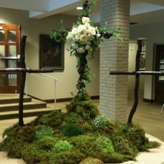 Beautiful Rustic Easter Display In A Church