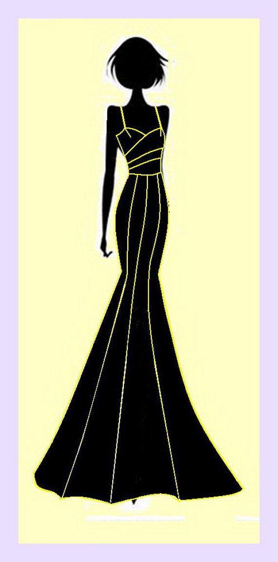 PDF Sewing Pattern Mermaid Dress with Shoulder by BlueButterflyJ ...