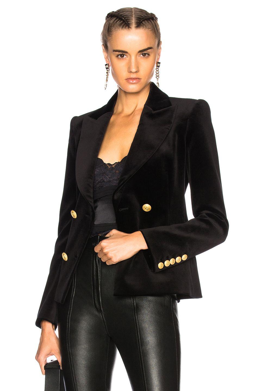 9a2d4152 Image 1 of Pierre Balmain Velvet Double Breasted Blazer in Black ...