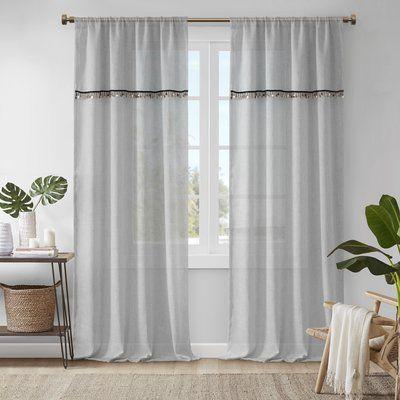 Mistana Vanfleet Solid Semi Sheer Rod Pocket Single Curtain Panel