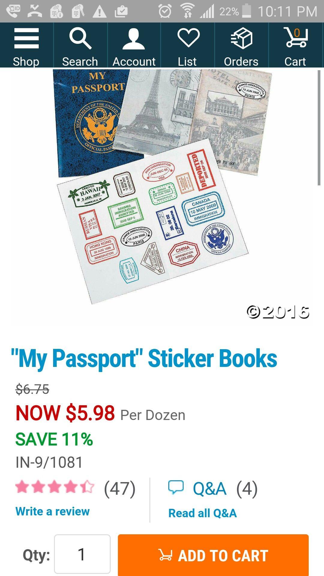Passport sticker books