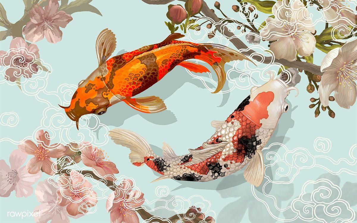 Download Premium Vector Of Two Japanese Koi Fish Swimming 449879 Koi Fish Drawing Koi Painting Fish Drawings