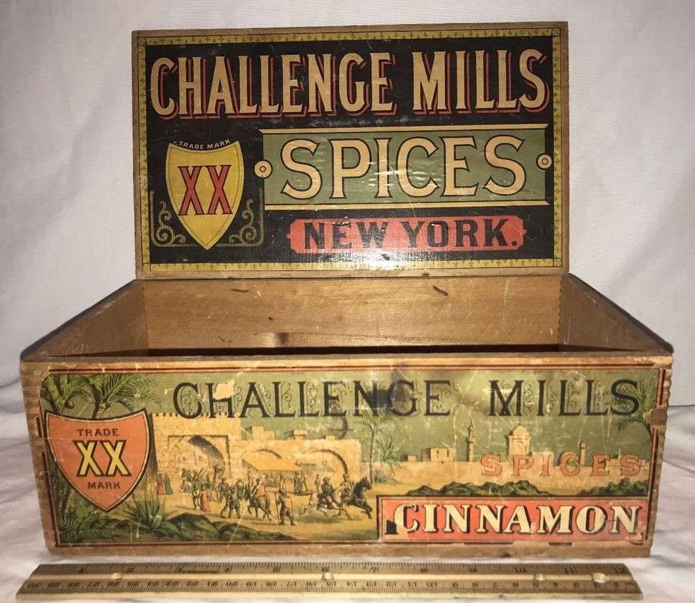 6f0c103d2d1e ANTIQUE CHALLENGE MILLS CINNAMON SPICE TIN COUNTRY STORE WOOD DISPLAY BOX  OLD NY