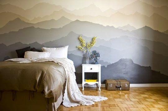 DIY Un precioso mural pintado como cabecero Murales pintados