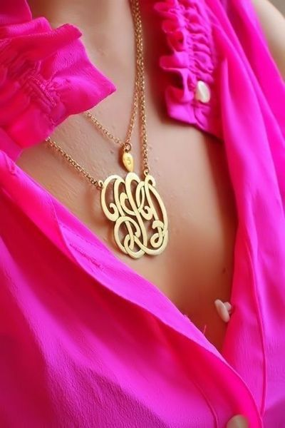 Gorgeous layered monogram necklace styling. Pink button down