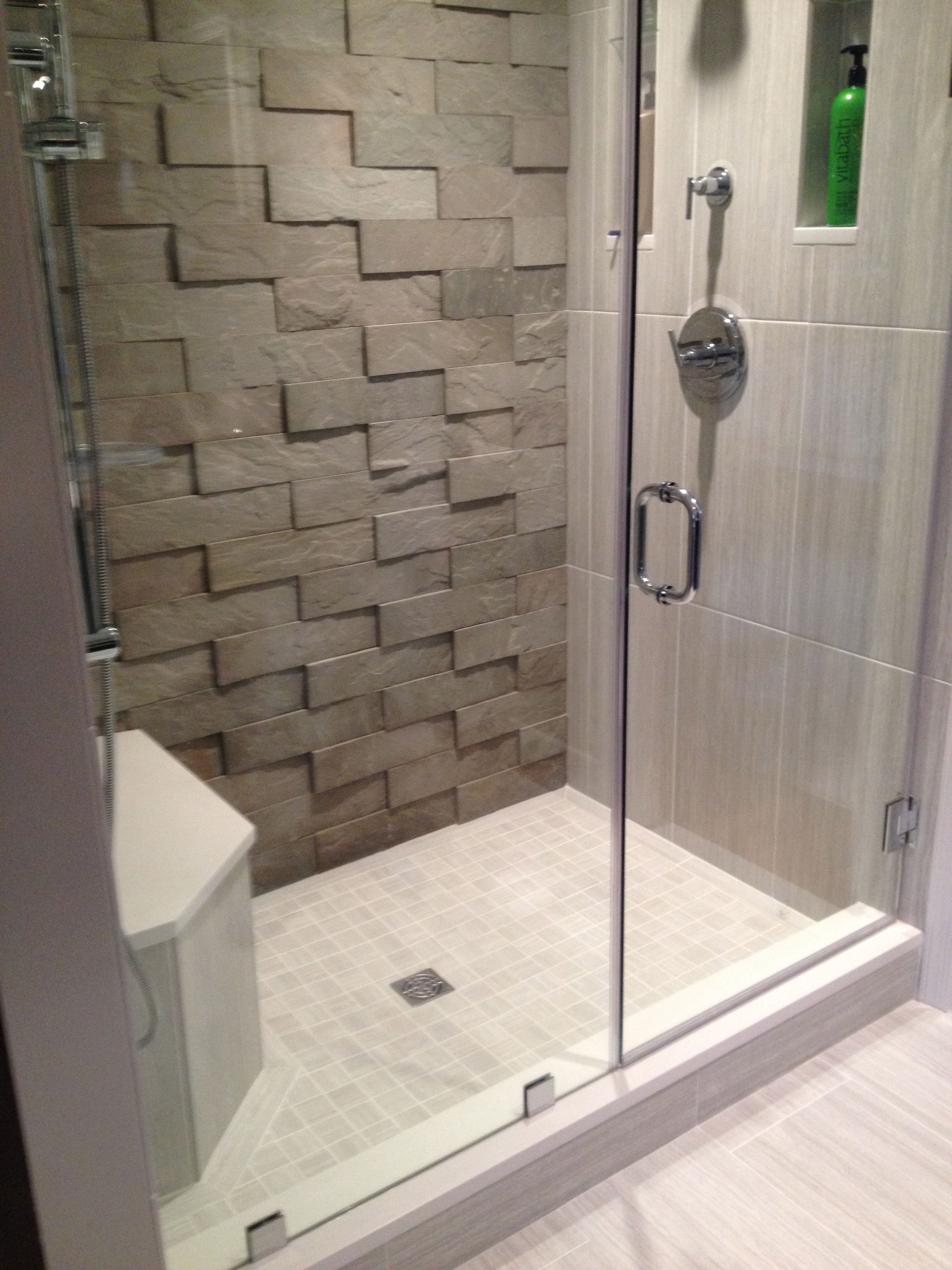 bathroom tile accent wall this bathroom features our large v tile in sandstone grey 16712