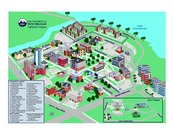 Old Dominion Campus Map.University Of New Orleans Lakefront Campus Map Louisiana Colleges