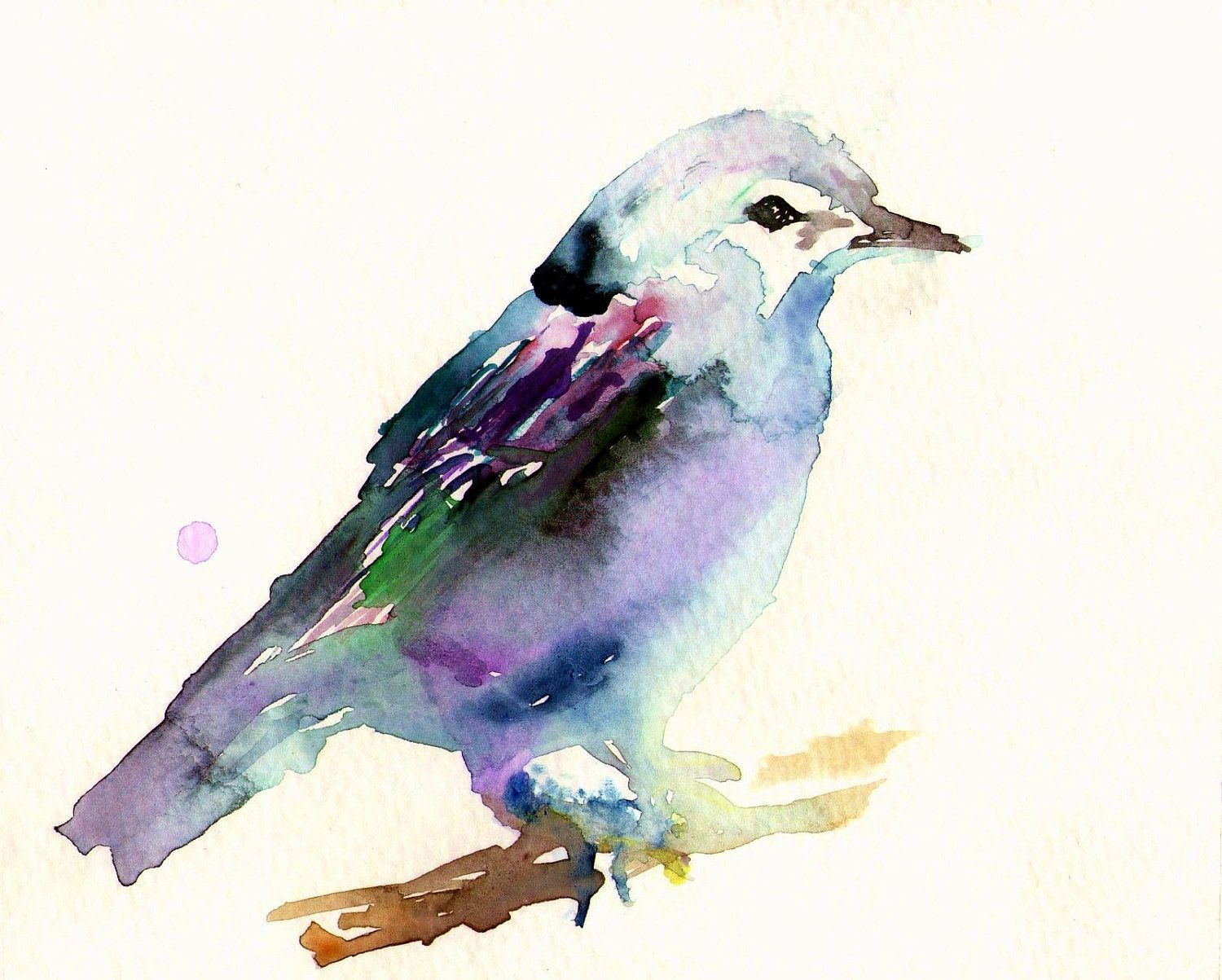 Print of Original Watercolor Painting, Titled: Beauteous Bird by Jessica Buhman Blue Purple Pink Green. $20.00, via Etsy.