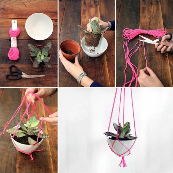 learn how to make a hanging plant holder find fun art projects to do at - Hanging Plant Holders