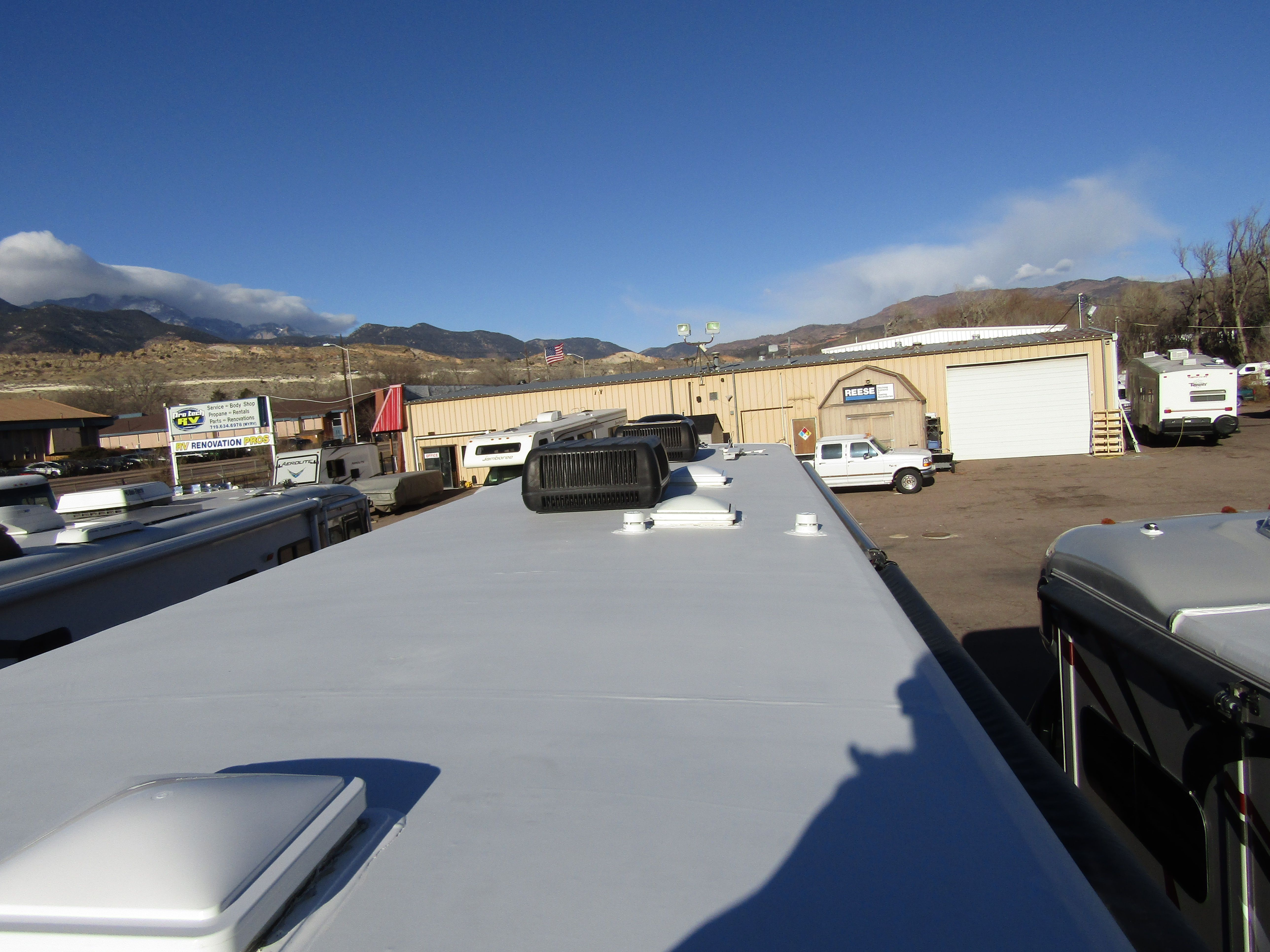 Hail damaged this roof but we were able to go through