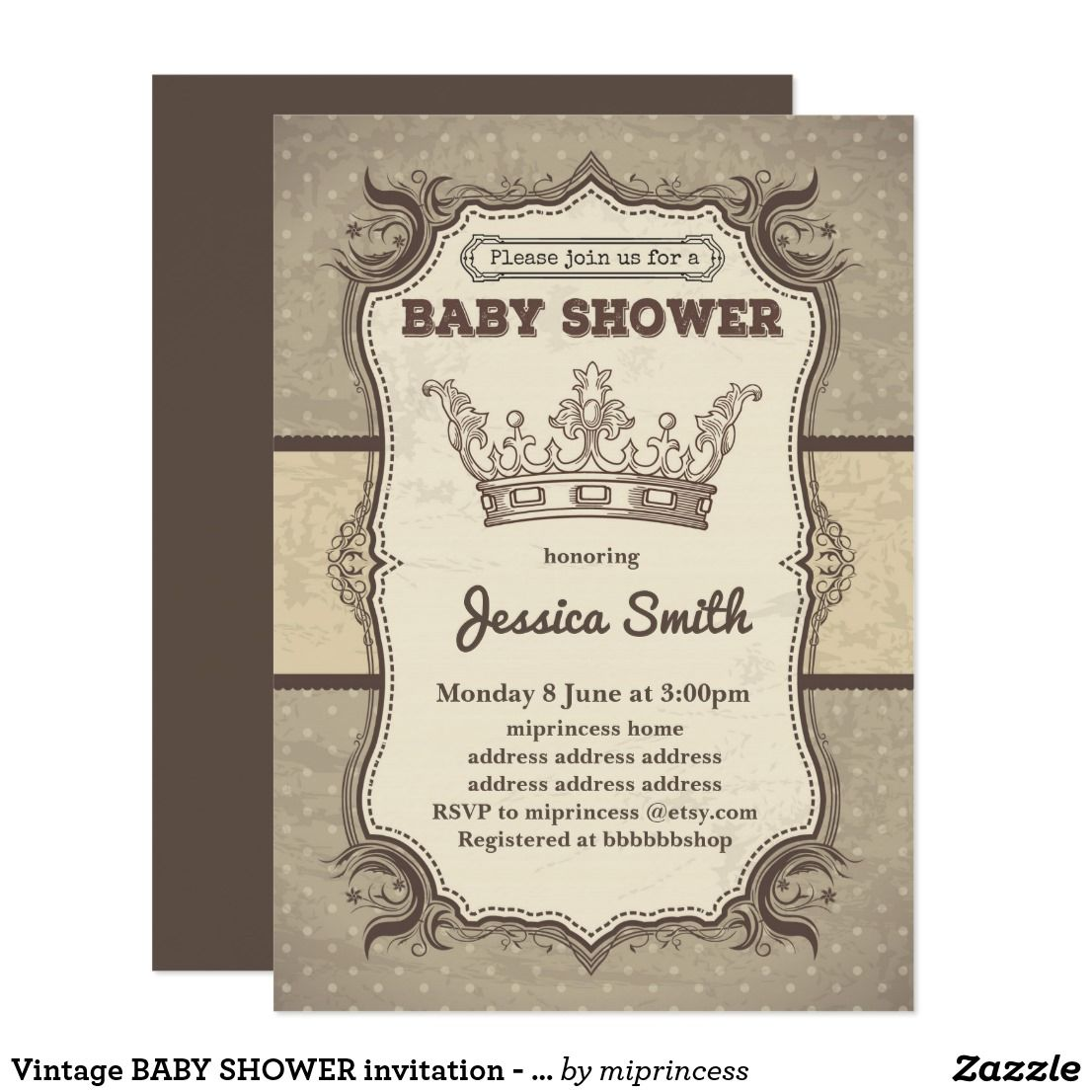 Vintage BABY SHOWER invitation - princess crown | Vintage baby ...