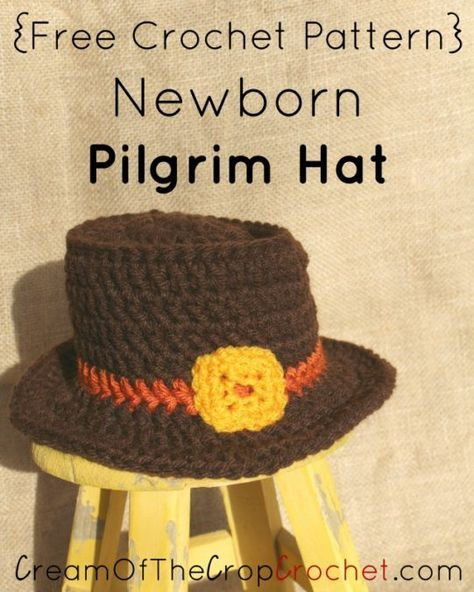 Newborn Pilgrim Hat Crochet Pattern | Cream Of The Crop Crochet ...