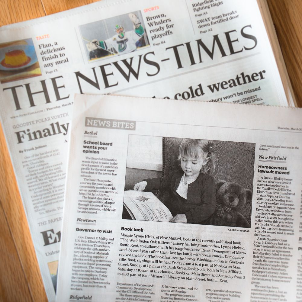 "Recent coverage in the Danbury New Times regarding our ""little kitten"" story..."