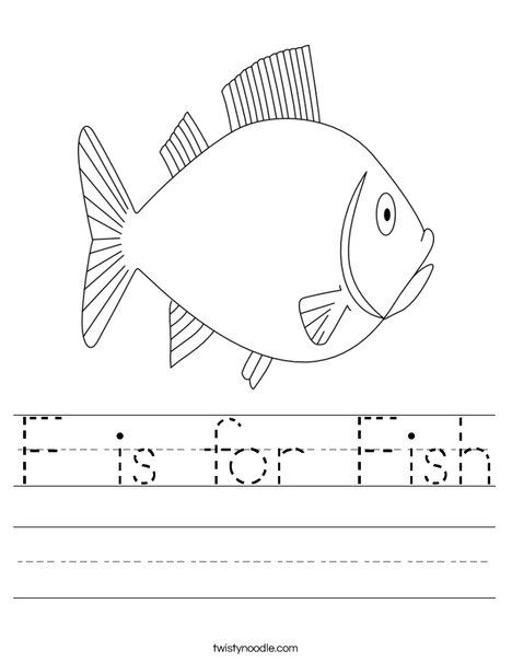 F is for Fish Worksheet - Twisty Noodle | Mrs. Rodriguez\'s Pre-K ...