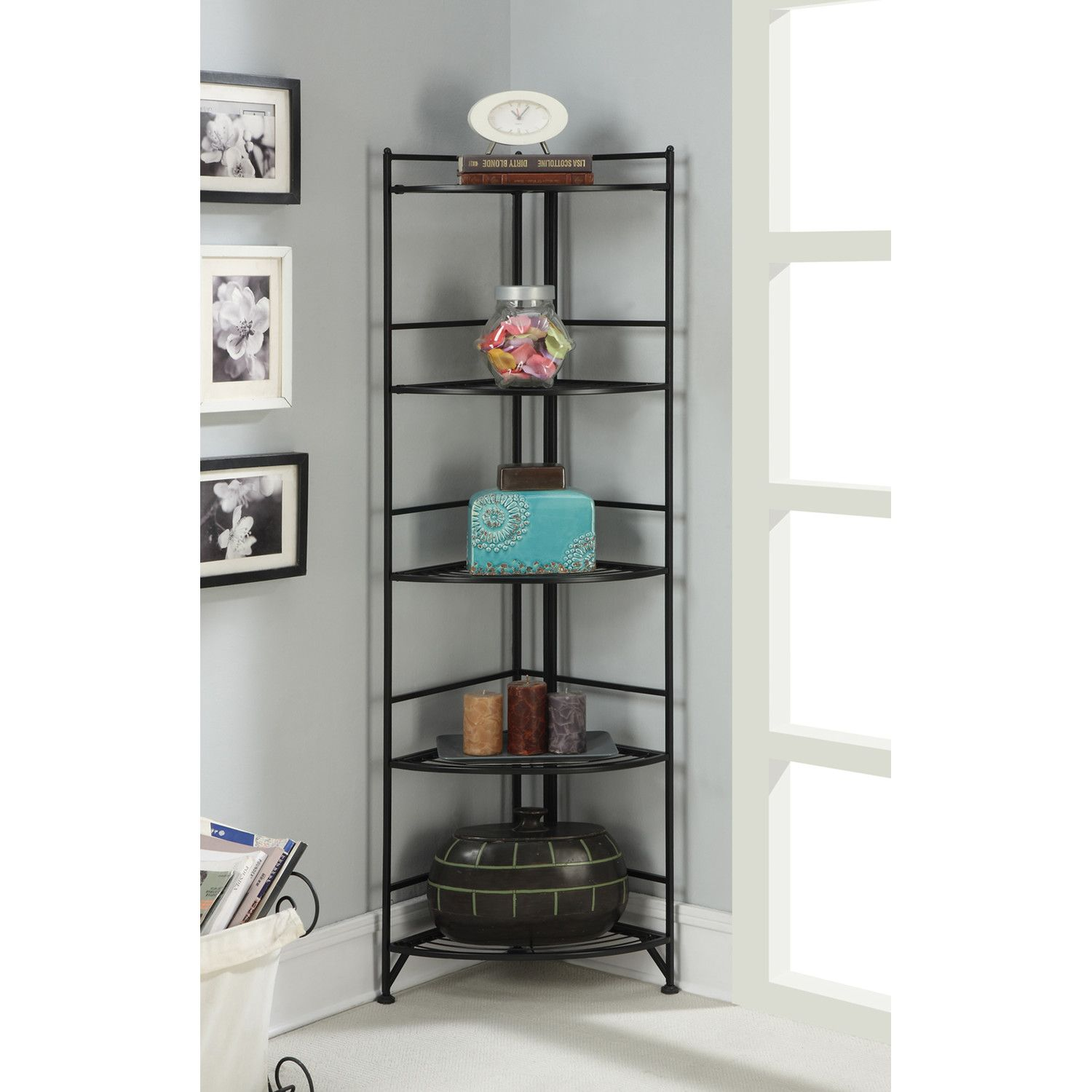Glass Corner Display Units For Living Room Concept Convenience Concepts 5 Tier Folding Metal Corner Shelf 58 .