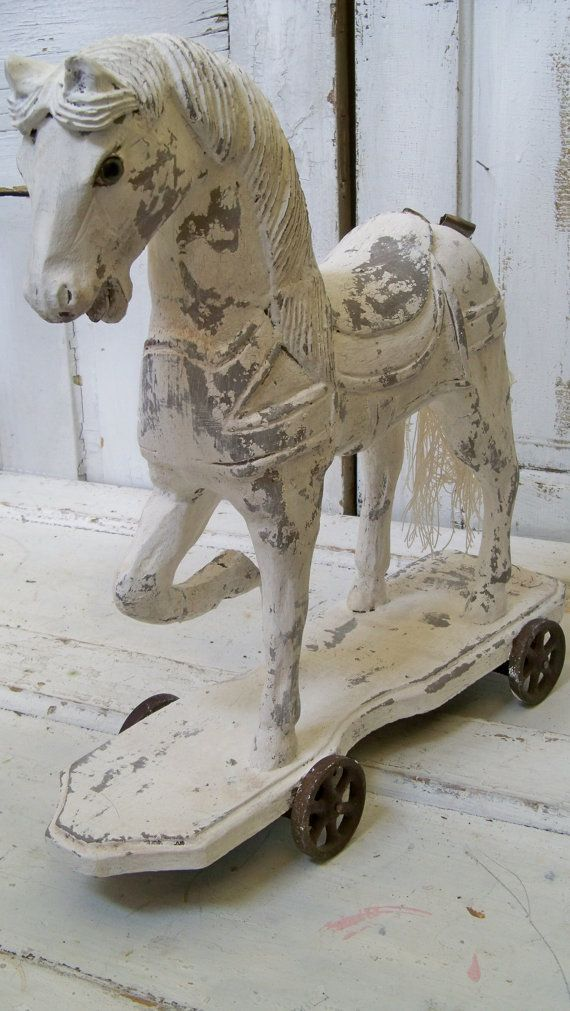 Large Wood Horse Hand Painted Gray White Rusty Wheels French Nordic