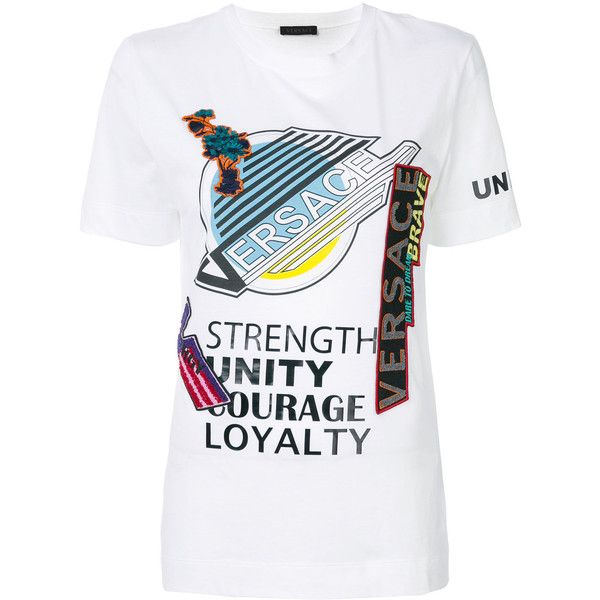 Versace Manifesto Print T Shirt 980 Liked On Polyvore Featuring Tops T Shirts White Cotton Tees White Round Neck T Shirt With Images Printed Shirts Print T Shirt
