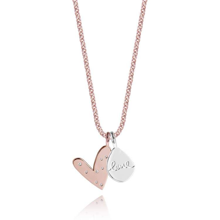 Joma Jewellery LIVE LOVE SPARKLE silver chain rose gold heart pendant necklace