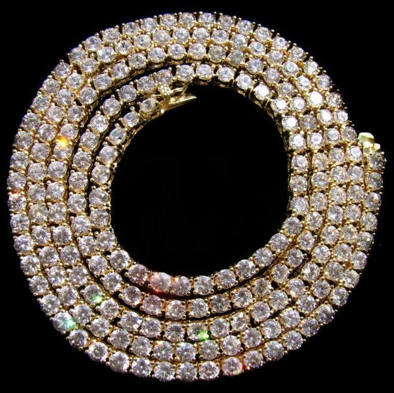 NEW $299 Mens 14k Gold GP Necklace iced out Simulate Diamond