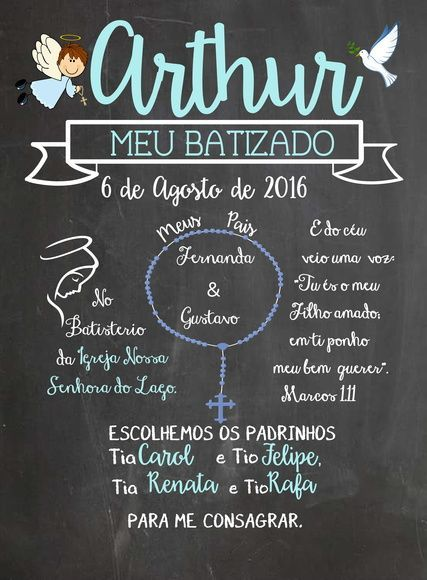 Chalkboard Batizado Com Imagens Convite Batismo Decoracao