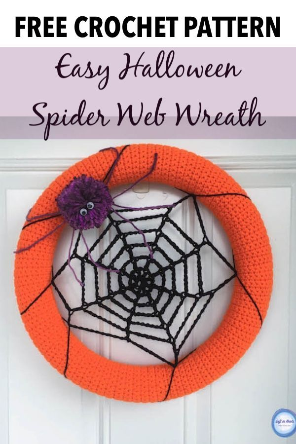 Photo of Crochet a Halloween spider web wreath