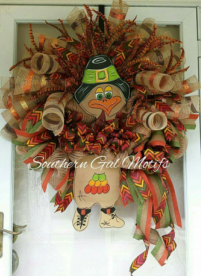 Beautiful Designer Turkey Wreath!  Message me on Facebook for details at www.facebook.com/SouthernGalMotifs